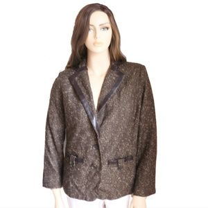 NY Collection Brown & Faux Leather  Tweed Blazer